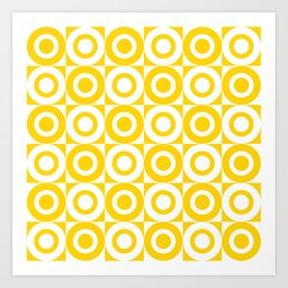 Mid Century Square and Circle Pattern 541 Yellow Art Print