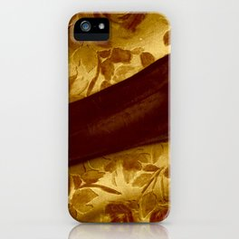 golden drape with marsala flowers iPhone Case