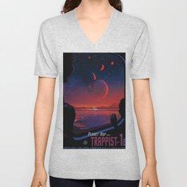 NASA Retro Space Travel Poster #13 - TRAPPIST-1e Unisex V-Neck