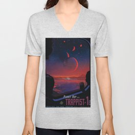 NASA Retro Space Travel Poster #13 - TRAPPIST-1e Unisex V-Neck