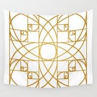 fibonacci Wall Tapestries featuring Golden Flower by Melek Design