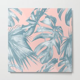 Tropical Leaves Ocean Blue on Coral Pink Metal Print