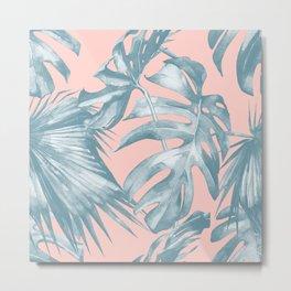 Tropical Leaves Ocean Blue on Coral Pink Metal Print