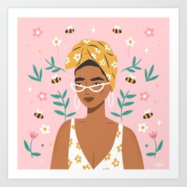 Bee Kind Pink Art Print