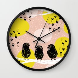 The Finch Clique - Peach Wall Clock