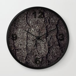 Cracked asphalt road Wall Clock