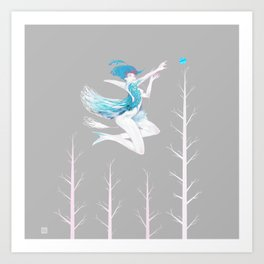 Little Blue Bird Art Print