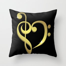Treble clef, bass clef music heart love Throw Pillow