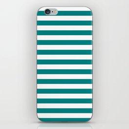 Narrow Horizontal Stripes - White and Dark Cyan iPhone Skin
