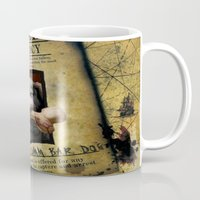 monkey island Mugs featuring Monkey Island - WANTED! Spiffy, the Scumm Bar dog by Sberla