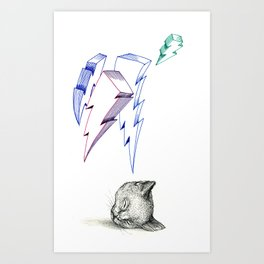 Lightning Cat Head Art Print