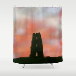 Sunset Over the Tor Shower Curtain