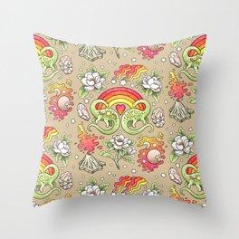 Love You Till Extinction   Watercolor Dinosaur Rainbow Art Throw Pillow