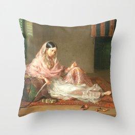 Muslim Lady Reclining - Renaldi Throw Pillow