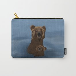 Grizzly Bear Mama and Her Cub Swimming Carry-All Pouch