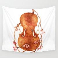 violin Wall Tapestries featuring Sakura Violin by Emily Swedberg (Ito Inez)