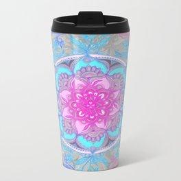 Pink, Purple and Turquoise Super Boho Doodle Medallions Metal Travel Mug