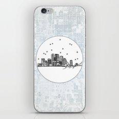 Minneapolis, Minnesota City Skyline Illustration Drawing iPhone & iPod Skin