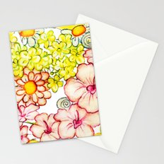 Yellow Hibiscus Cat in Silhouette Stationery Cards