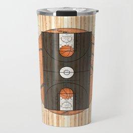 Black Basketball Court with Basketballs Travel Mug