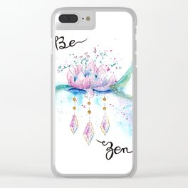 Be Zen Lotus Flower Watercolor Clear iPhone Case