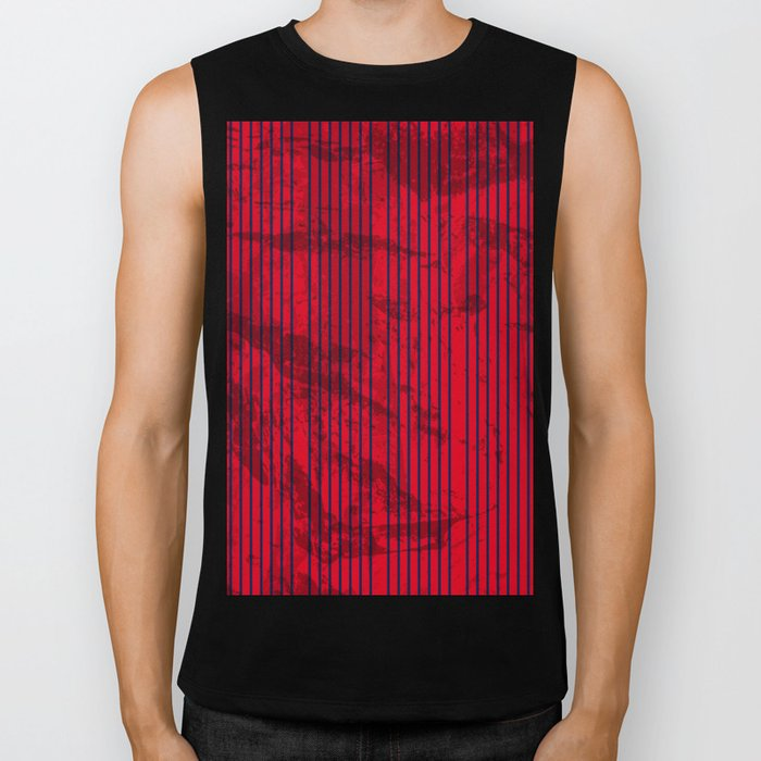 Grunge Blue stripes on bold red background Biker Tank