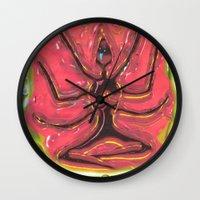 yoga Wall Clocks featuring Yoga by Tatyana Shayevich
