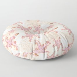 Starfish and Coral Pink Pastel Pattern Floor Pillow