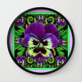 Lilac  Color Purple PANSY Green Garden art Wall Clock