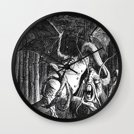 Jabberwocky Illustration from Alice in Wonderland Wall Clock