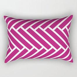 Berry pink and white herringbone pattern Rectangular Pillow