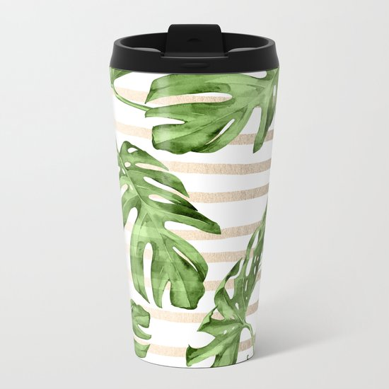 Simply Tropical White Gold Sands Stripes and Palm Leaves Metal Travel Mug