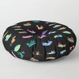 Sea slug - black Floor Pillow