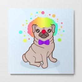 Pug dog in a clown costume Metal Print
