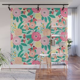 Modern brush paint abstract floral paint Wall Mural