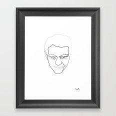 One line steve Mc Queen white Framed Art Print