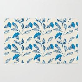 Doodle flowers in blue 3 Rug