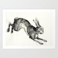 hare Art Prints featuring HARE by Riku Ounaslehto