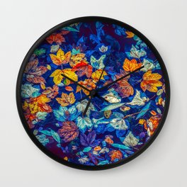 Blue Fall Leaves Autumn Nature Photography Art Wall Clock