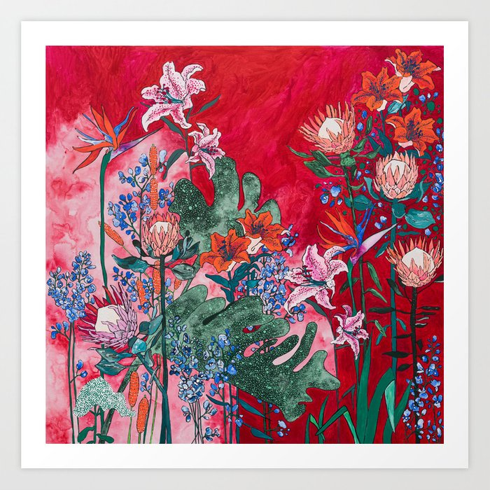 Ruby Red Floral Jungle Art Print