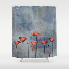 Poppyfield against the blue sky - abstract watercolor artwork Shower Curtain