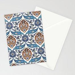 Iznik Tile Pattern Blue White Brown Stationery Cards