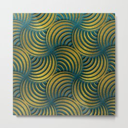 Teal Leather and Gold Circulate Wave Pattern Metal Print