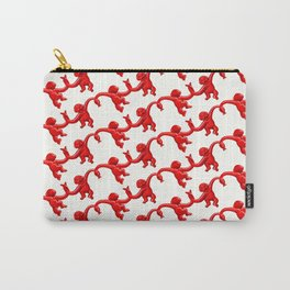 Monkey Toy Pattern - Red Carry-All Pouch