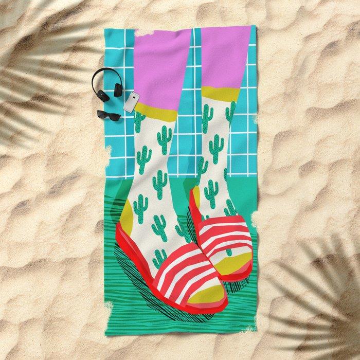 Sliders - memphis throwback retro neon 1980s 80s style pop art shoe fashion grid pattern socks Beach Towel