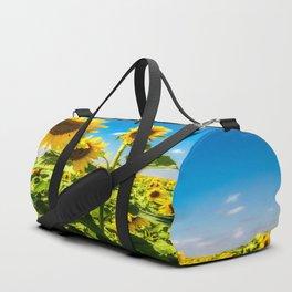 Three's Company - Trio of Sunflowers in Kansas Duffle Bag