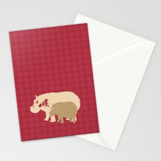 Hippopotamus with baby Nursery art Stationery Cards