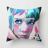 grimes Throw Pillows featuring Grimes by Tiffany Baxter