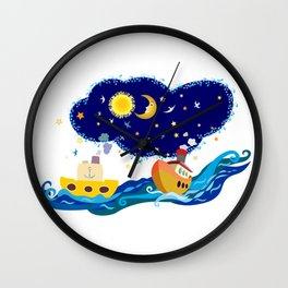 Two small boats on an adventure Wall Clock