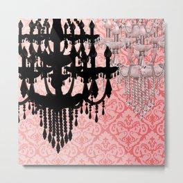Glamorous Chandelier & Silhouette Damask Backdrop Metal Print